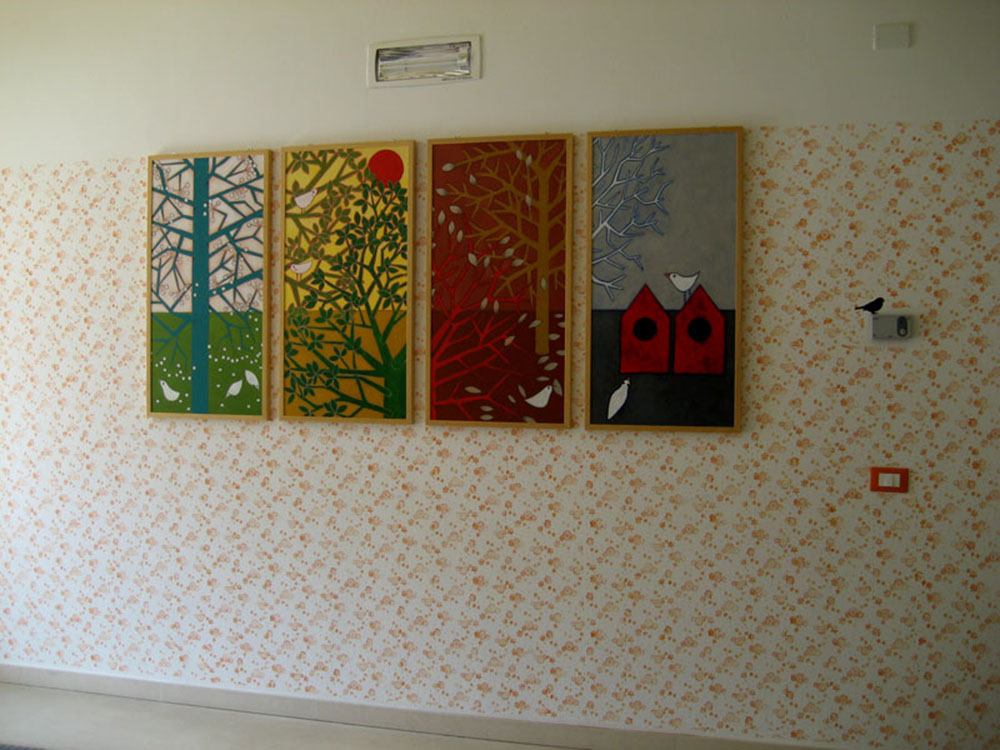 Le Quattro Stagioni Public art commission, 2014 Acrylic on canvas Nursery and kindergarten of Dro, Italy