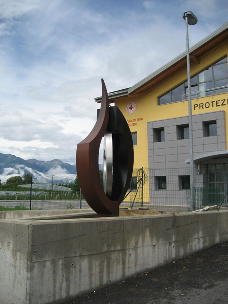 I Quattro Elementi Public art commission, 2014 Corten steel and iron Civil Protection Department Building, Coredo, Italy